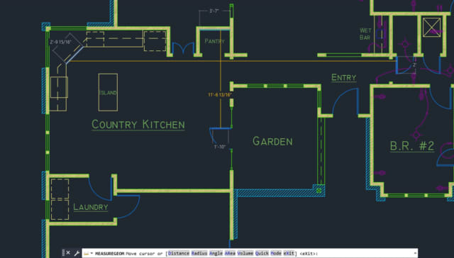 The new Quick Measure tool in AutoCAD 2020. (Image courtesy of Autodesk.)