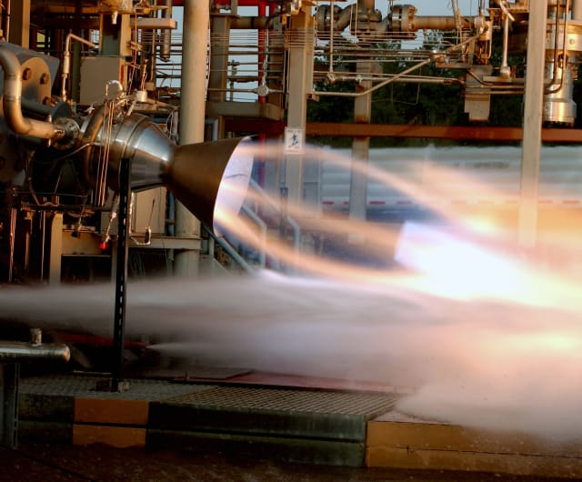 RS-88 development rocket engine being test fired at NASA's Marshall Space Flight Center in Huntsville, Ala.