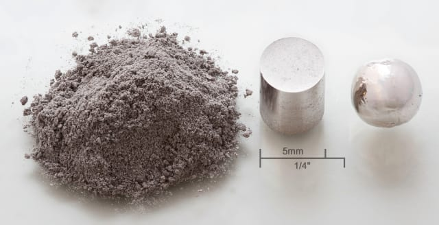 Rhodium metal: powder, pressed pellet 3*105 psi) remelted. (Image courtesy of Heinrich Pniok.)