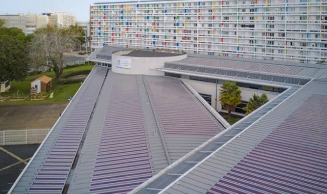 Heliatek OPV panels on a school rooftop in La Rochelle