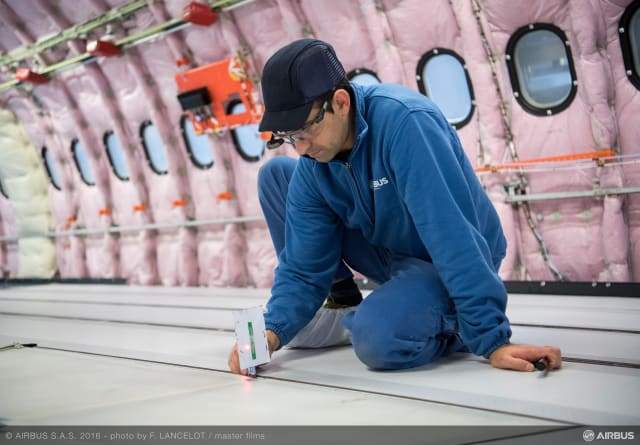 """Smart glasses"" – developed through a team-up between Airbus and Accenture – enable greater efficiency and time savings during the aircraft outfitting process."