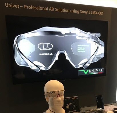 Italy's Univet uses Sony's waveguide display on this AR headset.
