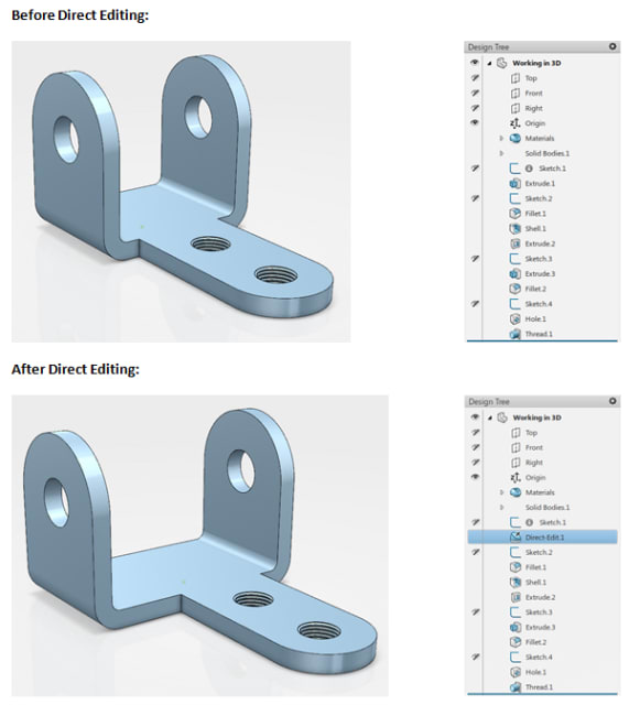 "Example of direct editing in SOLIDWORKS. Note that the feature ""Extrude 1"" (top) has been replaced by a new feature ""Direct-Edit 1"" (bottom). (Image courtesy of SOLIDWORKS)."