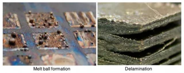Melt ball formation and delamination in EBM stainless steel