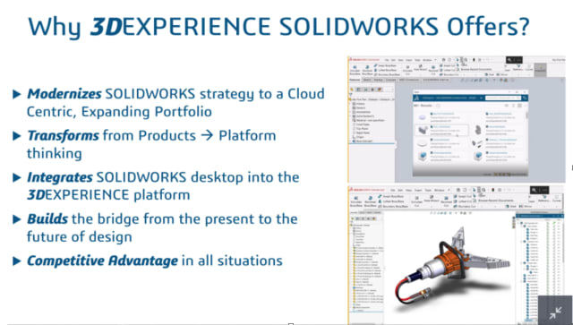 Why, because it's good for you. Like a parent insisting their child eat their vegetables, Dassault Systèmes continues their not so subtle push to the cloud and the 3DEXPERIENCE platform on SOLIDWORKS users. (Photo courtesy of SOLIDWORKS.)