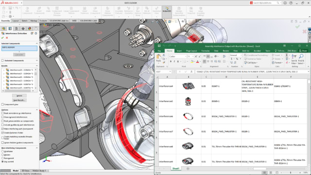 Users can export Excel-based reports from assembly Interference Detection, new in SOLIDWORKS 2020. (Picture courtesy of Dassault Systèmes.)