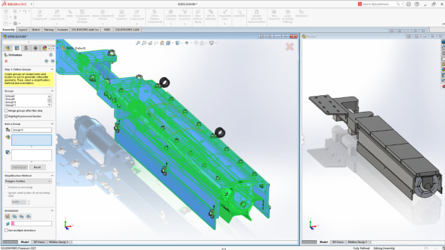 First introduced almost 10 years ago, SOLIDWORKS 2021 Defeature allows users to save their defeature results as configurations in addition to separate files. (Picture courtesy of Dassault Systèmes.)