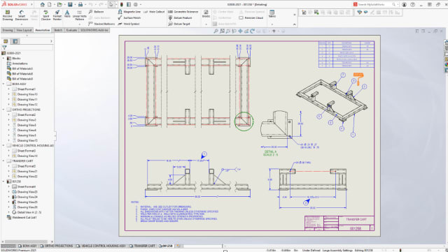 Introduced in SOLIDWORKS 2020, Detailing Mode for Drawings has been enhanced to support many more everyday tasks in 2021. (Picture courtesy of Dassault Systèmes.)