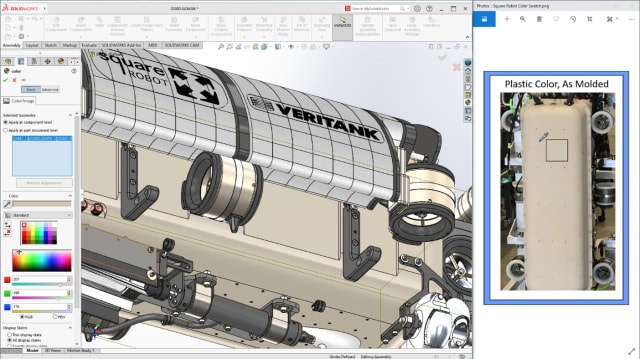 Appearance is everything. SOLIDWORKS 2021 has a color picker, the eyedropper familiar to Photoshop users, that lets you pick an exact shade from a photograph. (Picture courtesy of Dassault Systèmes.)