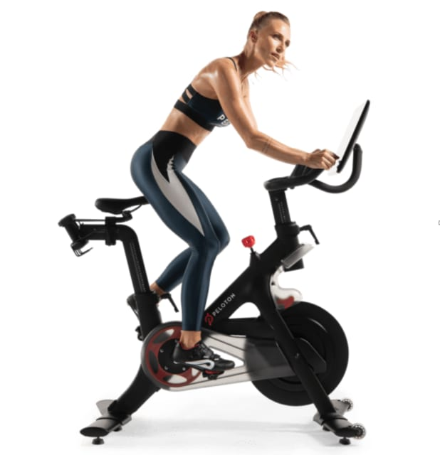 Irène Scholl, one of Peloton's instructors, on the company's $2,495 Peloton Bike+ model with a 22-inch screen. (Picture courtesy of Peloton.)