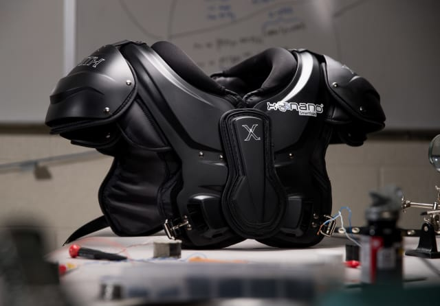 Football shoulder pads with smartfoam. (Image courtesy of Brigham Young University.)