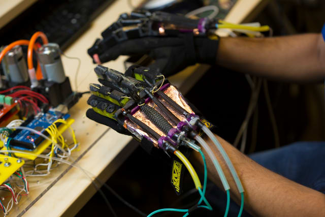 Soft robotic muscles are a key component of the gloves. (Image courtesy of JAcobs School of Engineering/UC San Diego.)