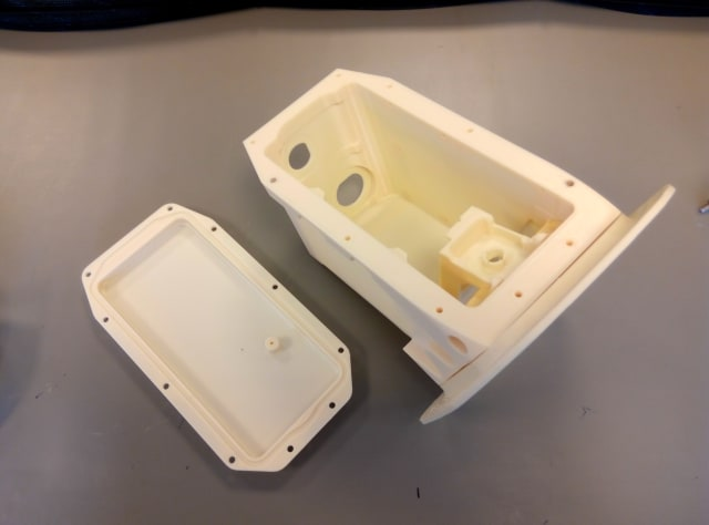 3D printed camera case prototype for the Airbus A380, produced on Stratasys' Fortus 450mc Production 3D Printer in ULTEM 9085 material. (Image courtesy of Stratasys.)