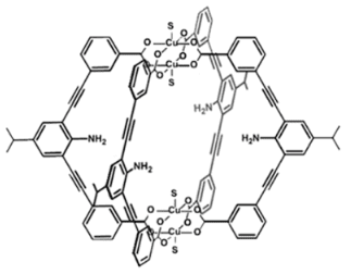 Diagram of a metal-organic polyhedra (MOP) based on copper (Cu). See the full paper for details. (Image courtesy of Nano Letters.)