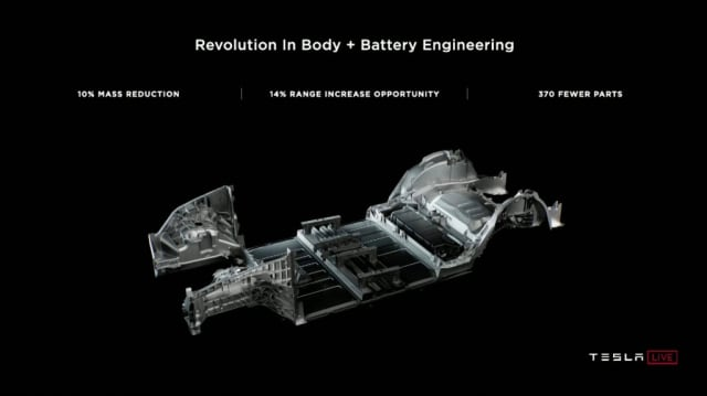 Integrating the battery into the car frame saves weight and improves performance. (Image courtesy of Tesla.)