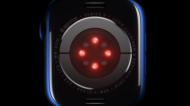 Apple's blood oxygen sensor uses LEDs and photodiodes to measure blood oxygen saturation. (Image courtesy of Apple.)