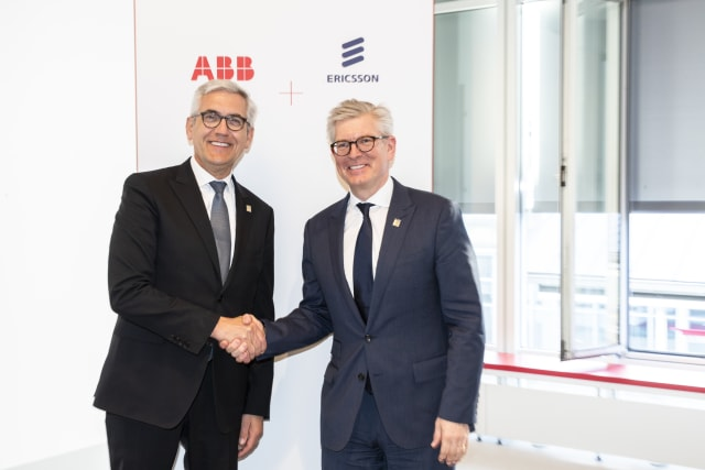 ABB CEO Ulrich Spiesshofer and Borie Elkholm, President and CEO, Ericsson signed MoU at Hannover Messe 2019. (Photo Business Wire)