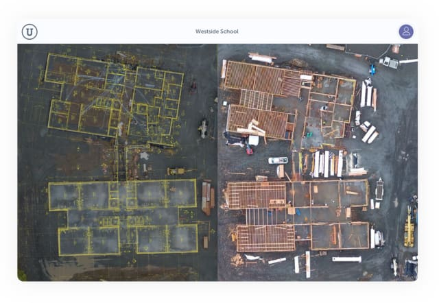 Construction progress tracking in OnePlace aligns build plans with aerial images. (Image courtesy of Unearth.)