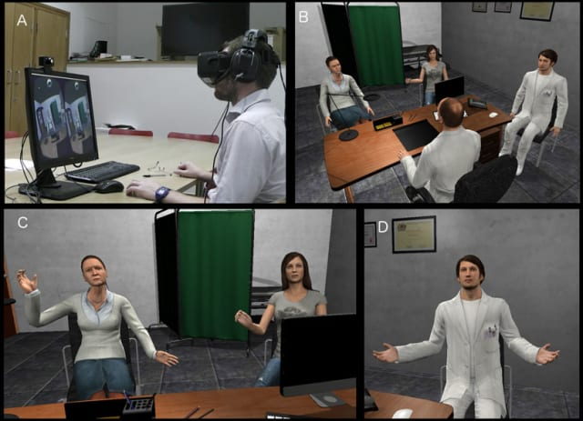 Stills from the virtual reality (VR) scenarios in a study conducted by the UCL, United Kingdom. (Image courtesy of ucl.ac.uk.)