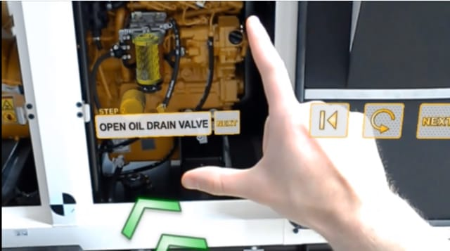 Following the steps to change an oil filter as viewed through an AR headset.