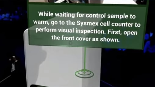 AR experience showing text instructions overlaid with video using PTC Waypoint.