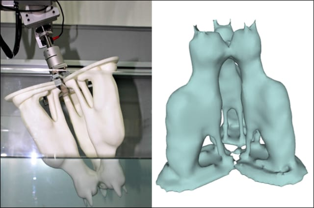 3-D scanning using Dip Transform. The object is dipped in water (left) using a robot arm, acquiring a dip transform by which the object is reconstructed (right). The team's method produces a complete reconstruction of the complex shape, including its hidden and inner regions. (Image courtesy of ACM SIGGRAPH 2017.)