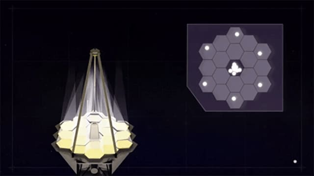 Animation of mirror alignment on the James Webb Space Telescope. (Image courtesy of NASA.)