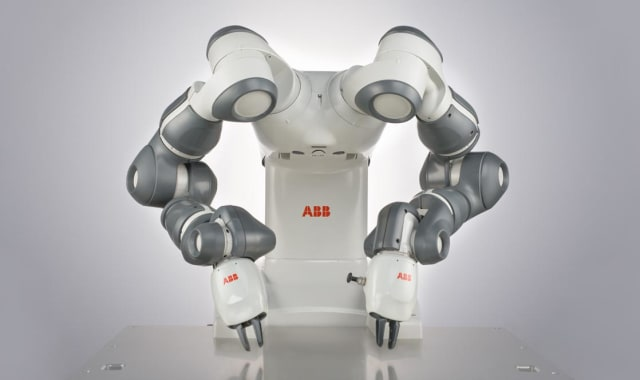 The design of this collaborative assembly robot is inspired by human physiology.(Image courtesy of ABB.)