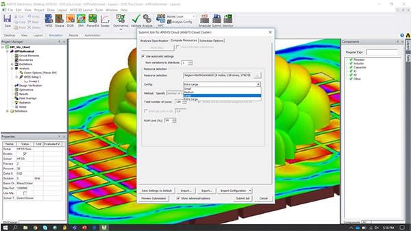 Submitting a solution to ANSYS HPC cloud can be done through the ANSYS interface. (Image courtesy of ANSYS.)