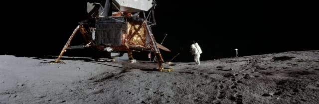 Figure 1: Panorama view of Apollo 12 lunar surface photos with lunar module pilot Alan L. Bean and the TV taken from just inside the rim of Surveyor Crater on the first moonwalk of the mission. (Image courtesy of NASA.)