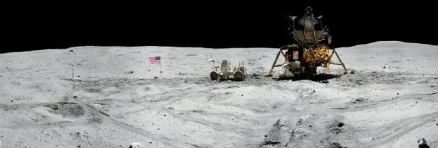 Figure 3: Panorama view of Apollo 16 commander Astronaut John W. Young, working at the Lunar Roving Vehicle (LRV) just prior to deployment of the Apollo Lunar Surface Experiments Package (ALSEP) during the first moonwalk of the mission on April 21, 1972. (Image courtesy of NASA.)