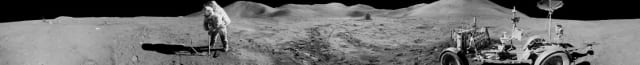 Figure 5: Panorama view of Apollo 15 lunar module pilot James B. Irwin, using a scoop in making a trench in the lunar soil during the second moonwalk of the mission. (Image courtesy of NASA.)