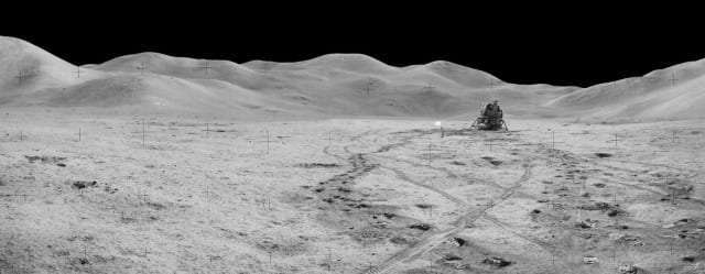 Figure 6: Panorama view of Station 8 and (Mons) Mt. Hadley taken during the third moonwalk of the Apollo 15 mission. (Image courtesy of NASA.)
