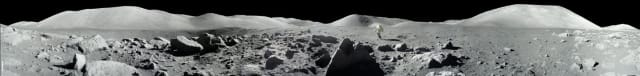 Figure 8: Panorama view of Apollo 17 lunar surface photos for Station 5 at the Taurus-Littrow landing site taken during the second moonwalk of the mission by Apollo 17 commander Eugene Cernan and lunar module pilot Harrison (Jack) Schmitt. (Image courtesy of NASA.)