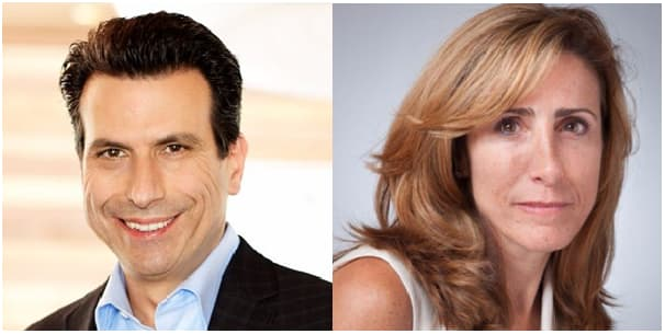 Andrew Anagnost, CEO of Autodesk (left), and Teresa Anania, senior director of subscriber success (right).