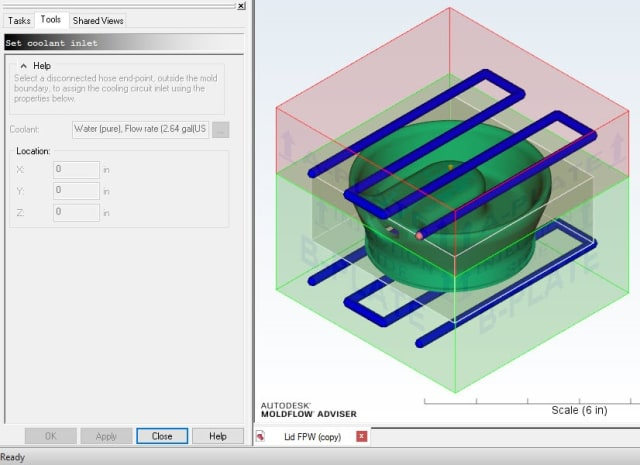 Simulation of cooling channels with Moldflow. (Image courtesy of Autodesk.)
