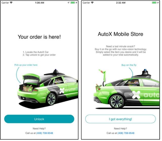 Screenshots of the AutoX app.