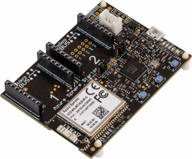 Board of Avnet's Azure Sphere MT3620 Starter Kit. The MT3620 chip is the white module seen in the bottom left of the board. (Image courtesy of Avnet.)