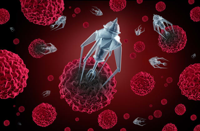 Artist's conception of nanorobots that can enter the human body and treat disease or deliver medication at the cellular level.