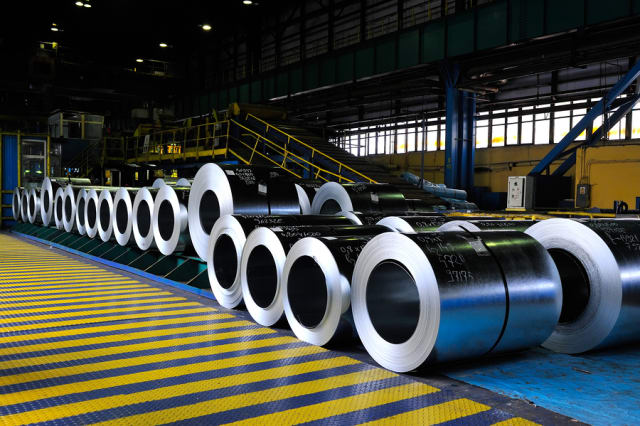 Rolls of Sheet Steel at a Manufacturing Plant.
