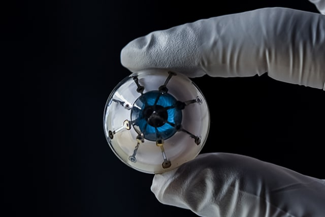 "Researchers at the University of Minnesota have fully 3D printed an image sensing array on a hemisphere, which is a first-of-its-kind prototype for a ""bionic eye."" (Image courtesy of University of Minnesota/McAlpine Group.)"