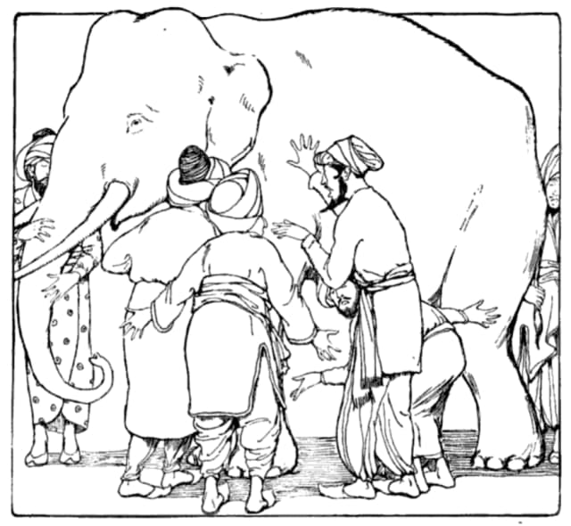 The Indian parable of blind men describing an elephant, each providing a version of the elephant that is limited to their remaining senses and their position. To the one feeling its leg, the elephant was a pillar. The one feeling the trunk described it as tree branch. To the one feeling the tail, it was like a rope. (Image courtesy of Martha Adelaide Holton & Charles Madison Curry, Holton-Curry readers, 1914.)