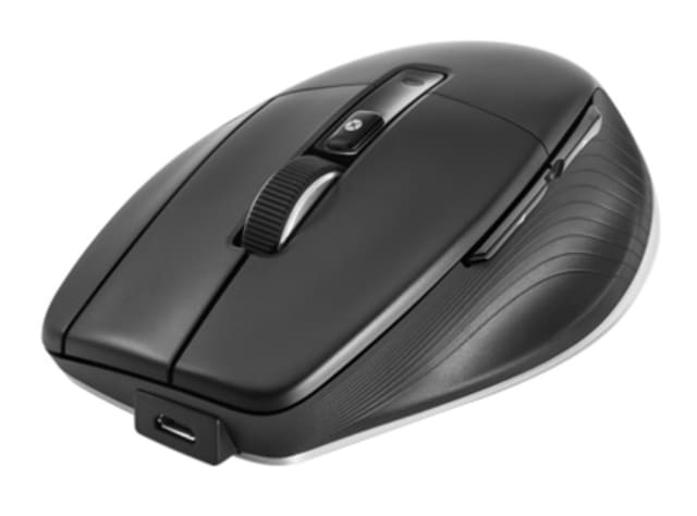 There are seven buttons (including the scroll wheel) on the CadMouse Pro Wireless (pictured) and other mice in the CadMouse line. (Image courtesy of 3Dconnexion.)