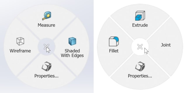 The default radial menu for SOLIDWORKS (left) and Fusion 360 (right).
