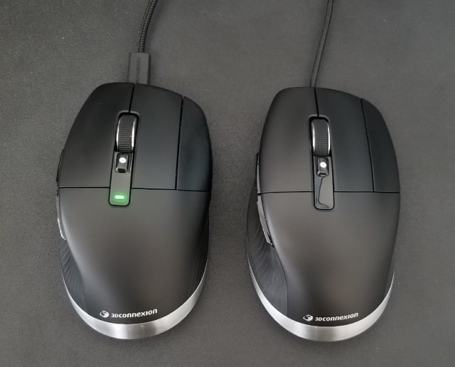 If you plan on being wired most of the time, the wired CadMouse Pro (right) is more comfortable to use than the plugged-in CadMouse Pro Wireless (left).