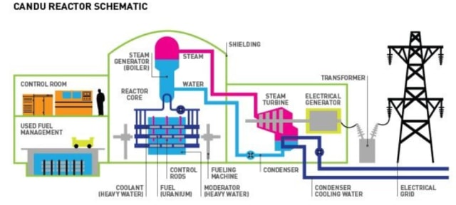 PHWR reactor illustration. (Image courtesy of the AECL and the Canadian Nuclear Association.)