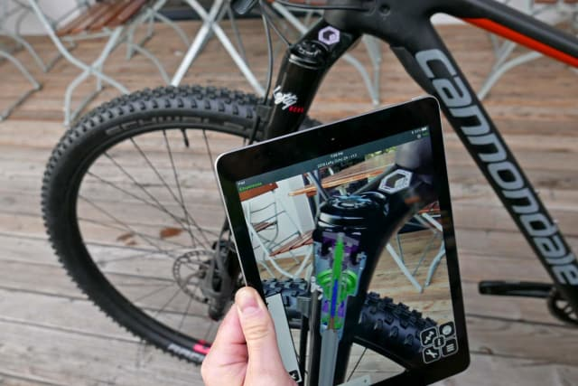 Cannondale was using the AR experience they built internally to help dealers of their products showcase different features to customers or help them keep track of parts inventory and catalogue instructions. This AR experience proved valuable enough to incorporate feedback from dealers who interfaced directly with customers into the product development process itself. (Image courtesy of Cannondale.)