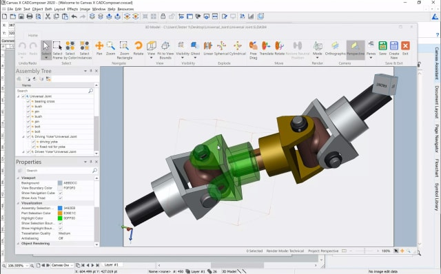 Canvas X CAD Composer now allows users to import and manipulate native 3D CAD data. (Image courtesy of Canvas GFX.)