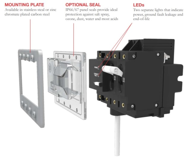 An image of a PC-series switch which is mixes the best features of a ground-fault circuit interrupter with a normal circuit breaker. (Image courtesy of Carling.)