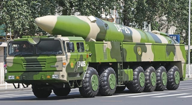 A Chinese DF-26 anti-ship ballistic missile. The PLA's rocket currently command controls 18 of these systems